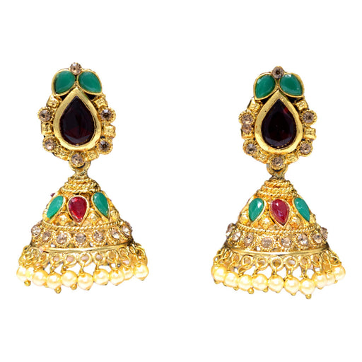 Golden Red & Green Stone & Moti Jhumki Front View