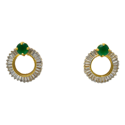 Green & White Stone Earring Front View