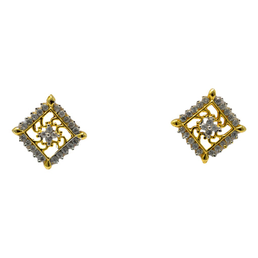 American Diamond Square Earring Front View