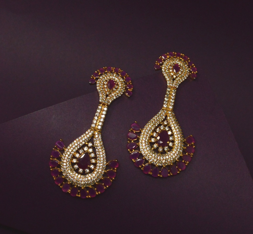 American Diamond & Red Stone Earring Color