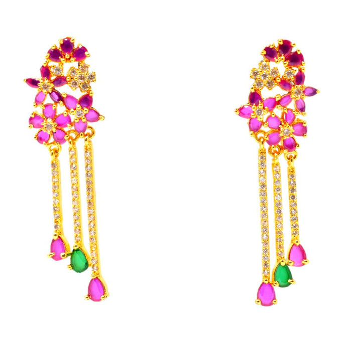 Flower Shape Red Stone & American Diamond Earring Front View