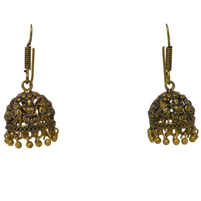 Gold Oxidised Jhumki Earring