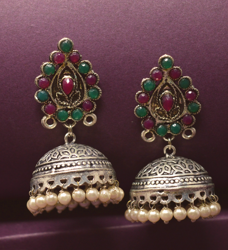 Red, Green & Moti Oxidised Earring