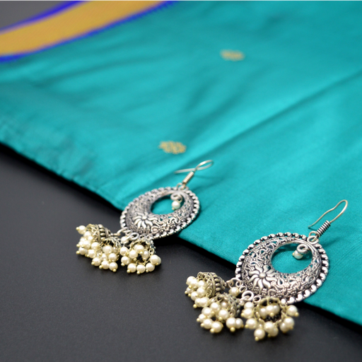 Chandbali Jhumki Oxidised Earring