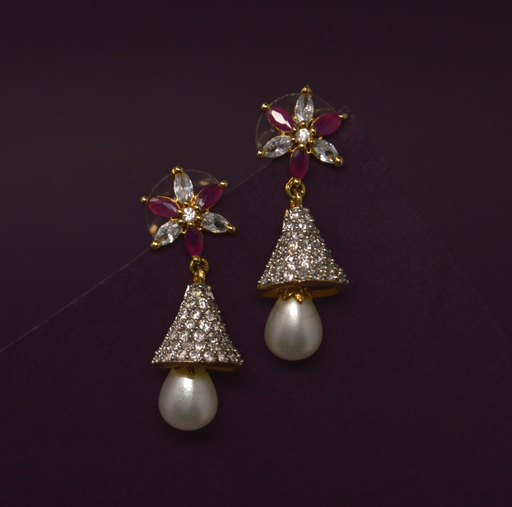 Red Stone & Moti Earring