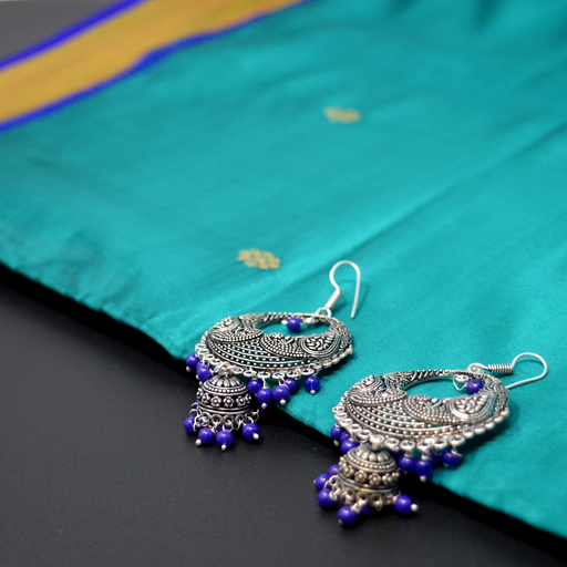 Purple Bead Chandbali Oxidised Earring