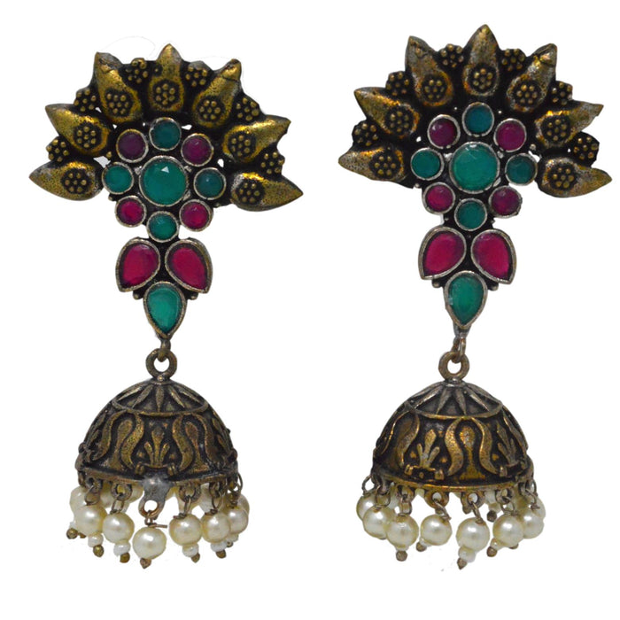 Moti & Red, Green Stone Oxidised Earring