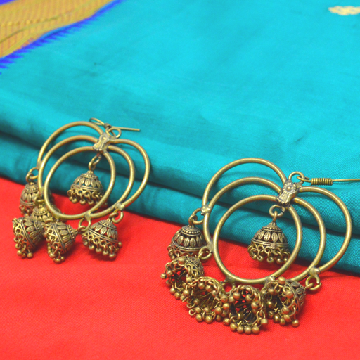 Oxidised Jhumki Ring Earring