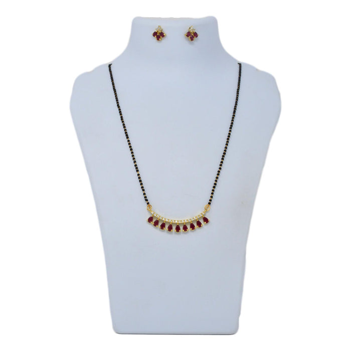 American Daimond  & Red Stone Mangalsutra Set On Mannequin