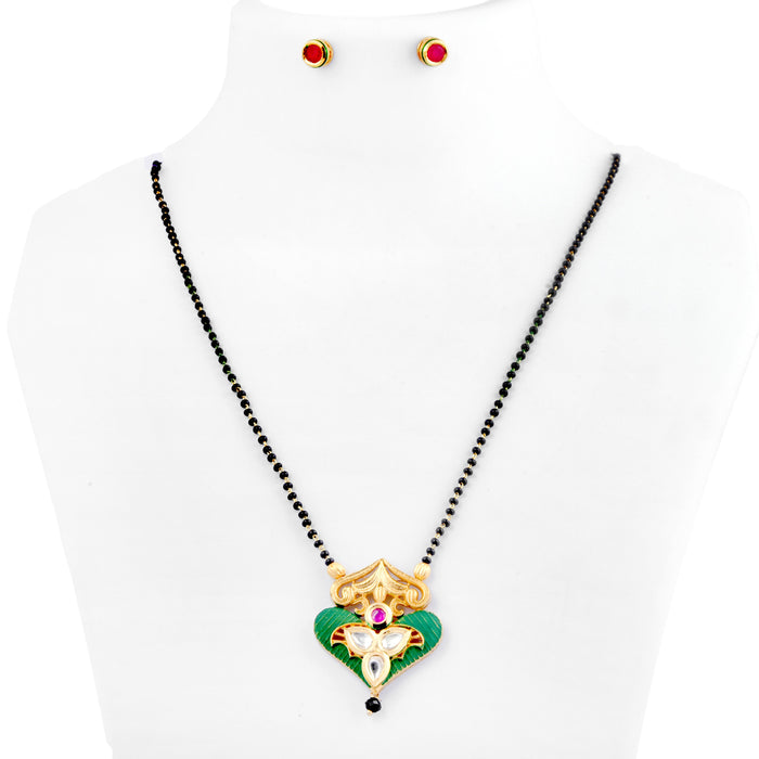 Red,Green Stone & Kundan Mangalsutra Set On Mannequin