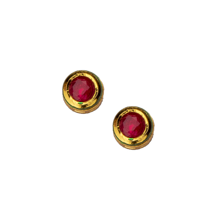 Red Stone Earring Closeup