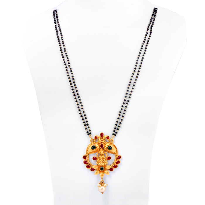 Red & Green Stone Laxmi Temple Mangalsutra On Mannequin