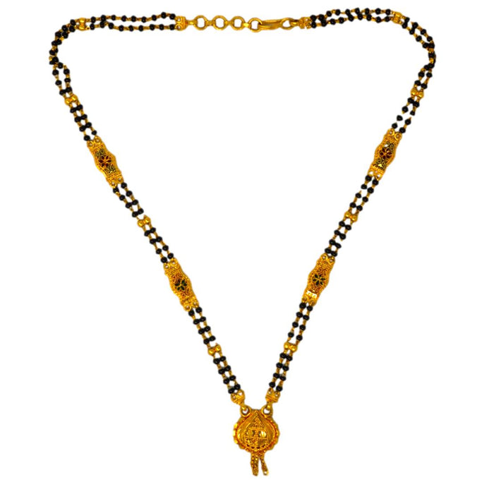 Golden Finish Pendant & Black mani Mangalsutra Top View