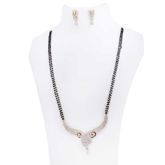 White Stone American Diamond Mangalsutra Set On Mannequin