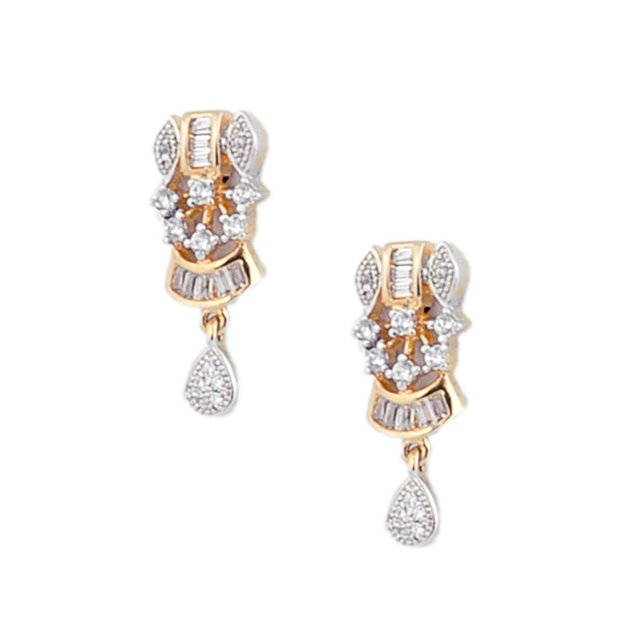 White Stone American Diamond Earring Closeup