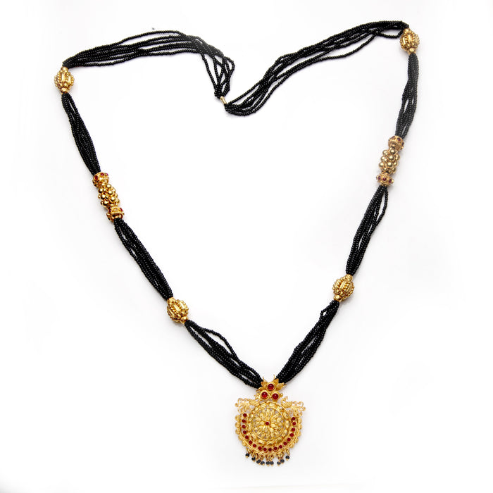 Red Stone Blossom Pendant Mangalsutra Front View