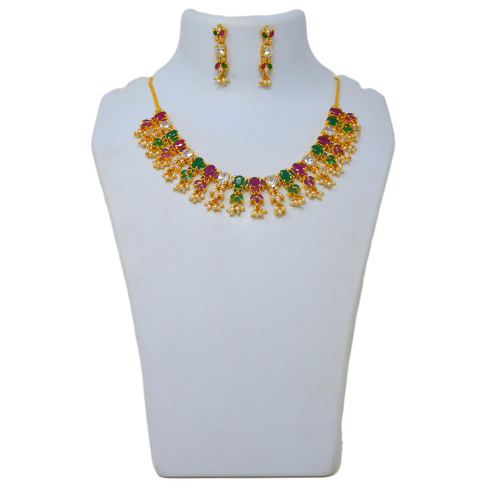 Red & Green Stone With Moti Necklace Set