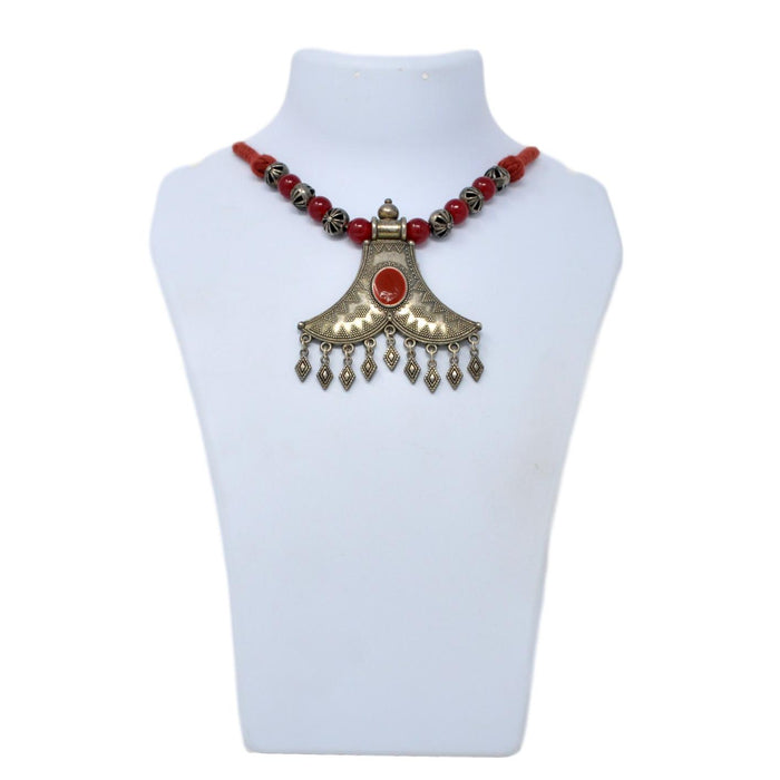 Red Dhaga And Oxidized Necklace