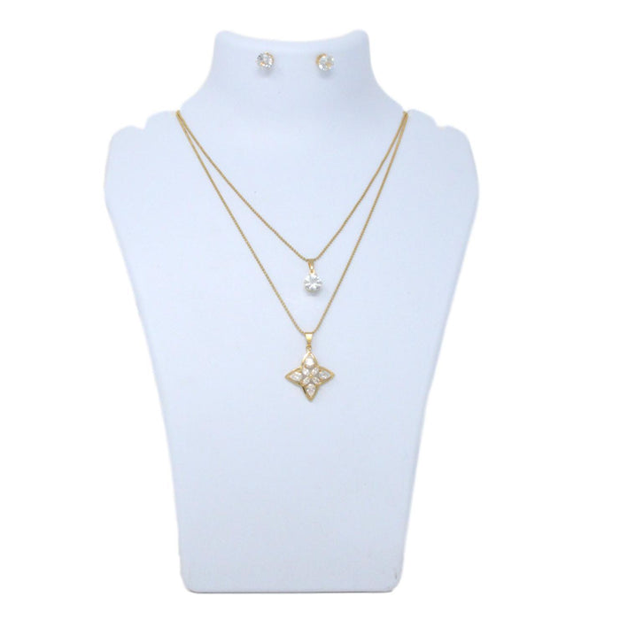 Golden American Diamond Two Layer Chain Necklace Set Back View