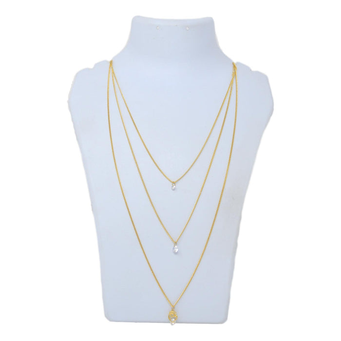 Golden American Diamond Three Layer Chain Necklace  Back View