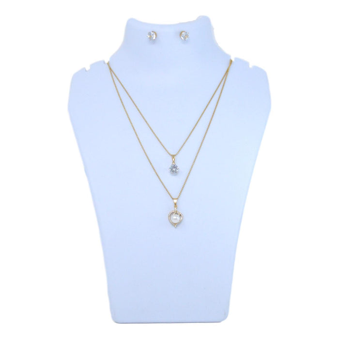 Golden American Diamond & Moti Two Layer Chain Necklace Set Back View