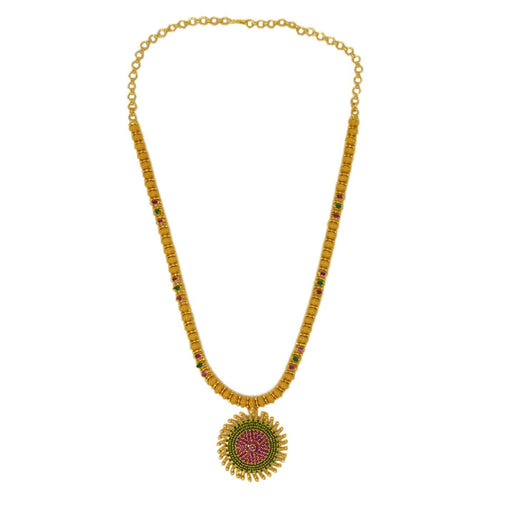 Red & Green Stone Golden Necklace Set Top View