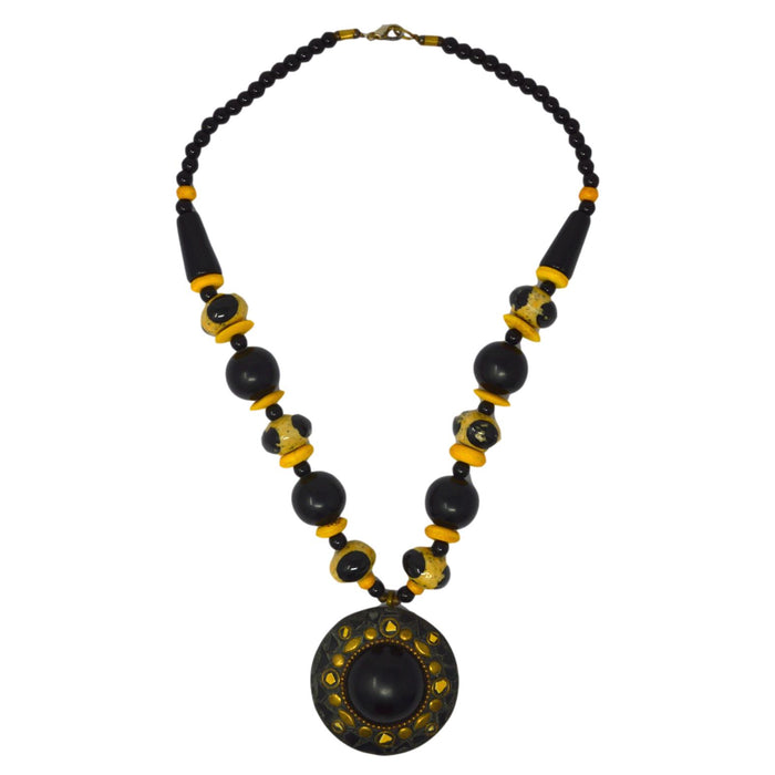 Black & Yellow Beads Necklace