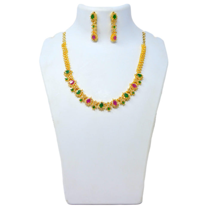 White,Red & Green Stone Necklace Set