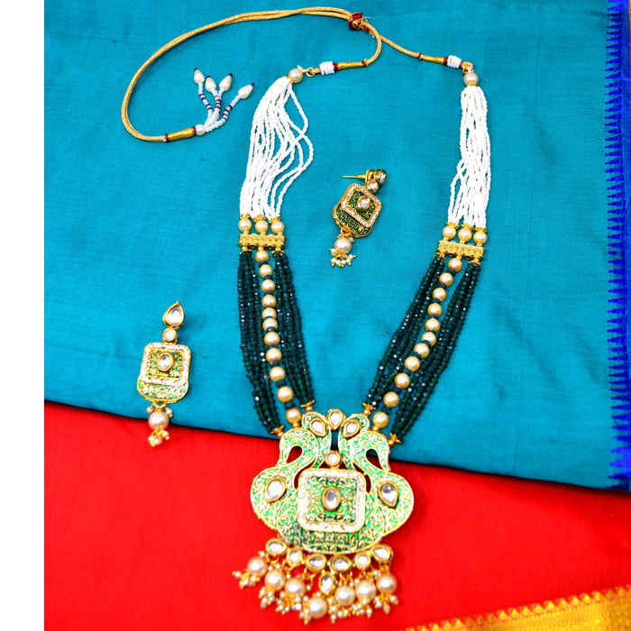 Green Crystal & Moti Kundan Necklace Set Top View