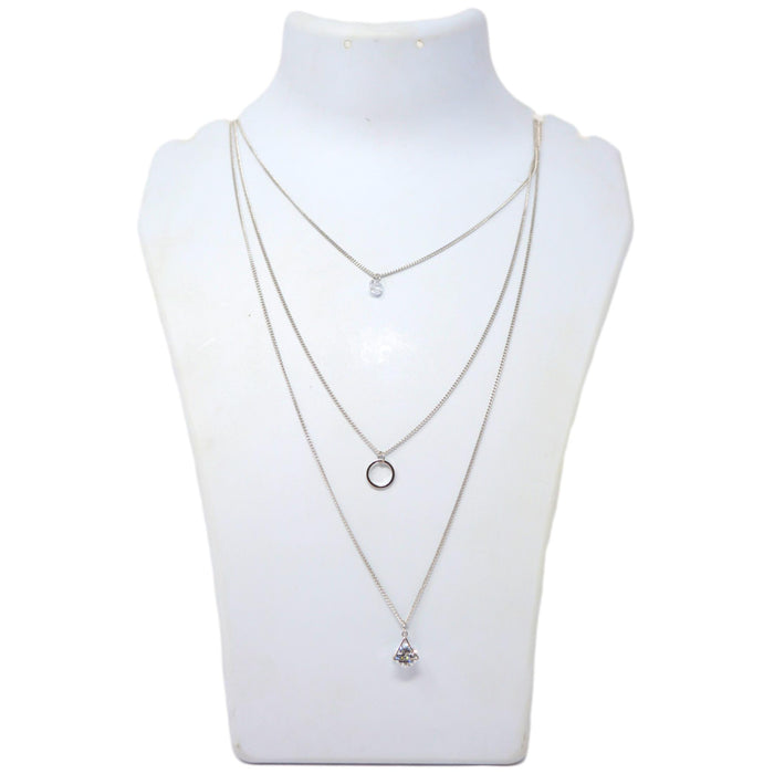 Three layer silver chain & stone pendant necklace