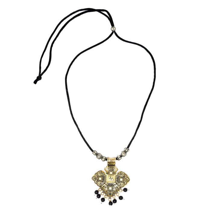 Black Dhaga Oxidised Necklace Top View