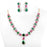 Red, White & White Stone Necklace Set On Mannequin