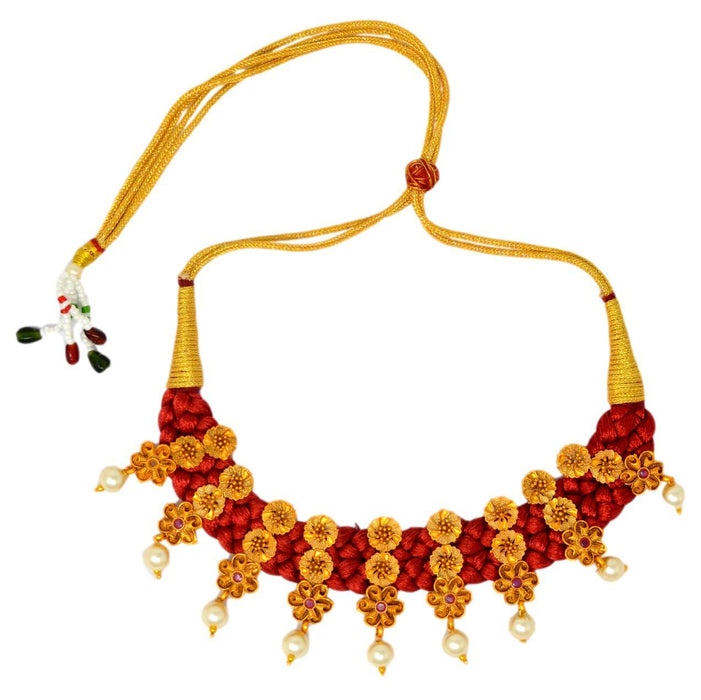 Moti Red Dhaga & Red Stone Necklace Set Top View