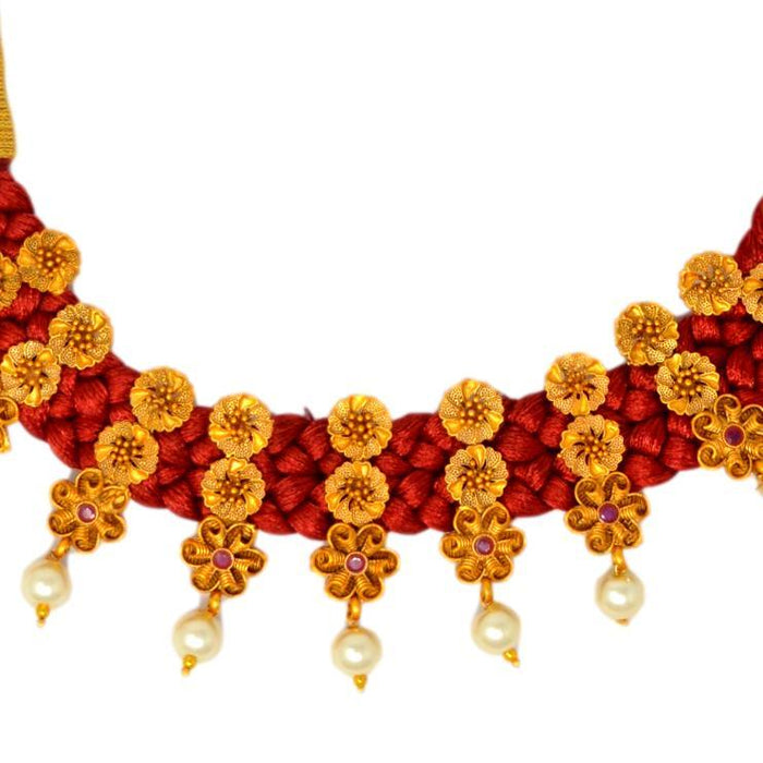 Moti Red Dhaga & Red Stone Necklace Set Close Up