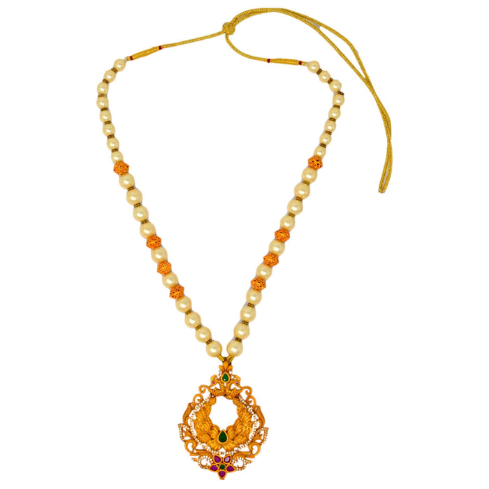 Moti Temple Finish Necklace Set Top View