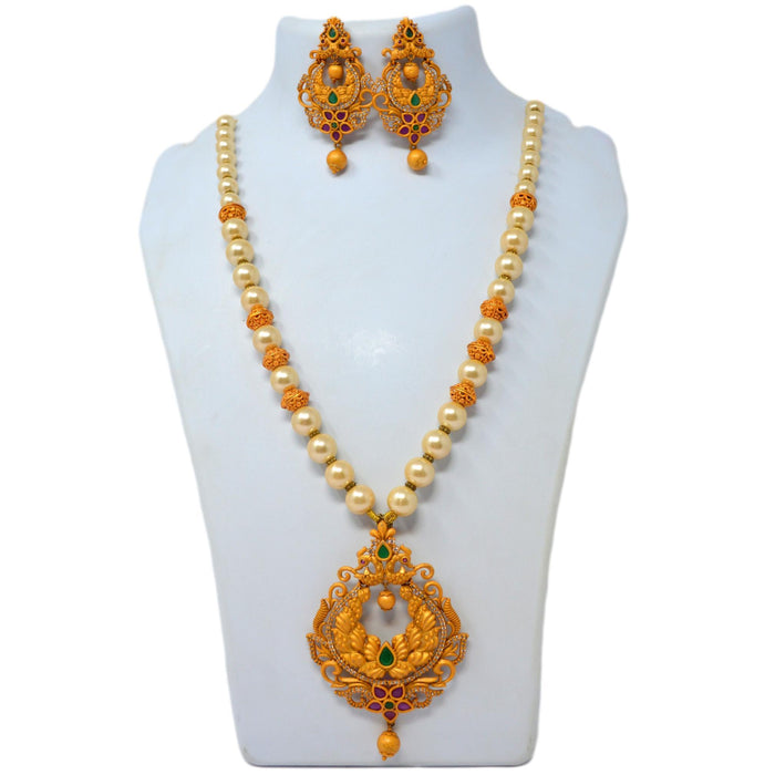Moti Temple Finish Necklace Set On Mannequin