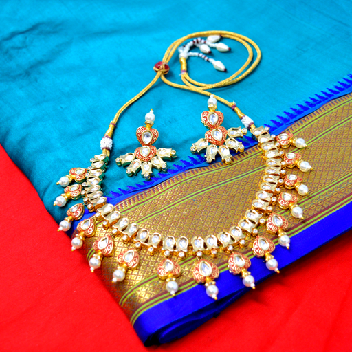 Moti Kundan Necklace Set  Color
