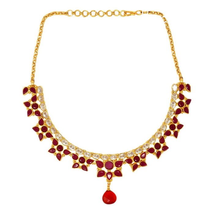 Red & White Flower Stone Necklace Set Top View