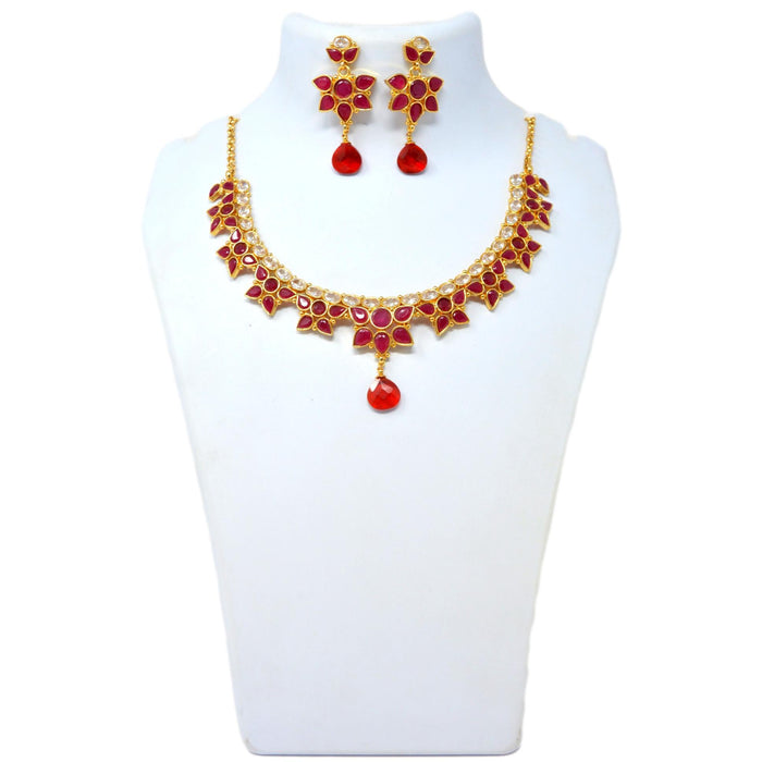 Red & White Flower Stone Necklace Set On Mannequin