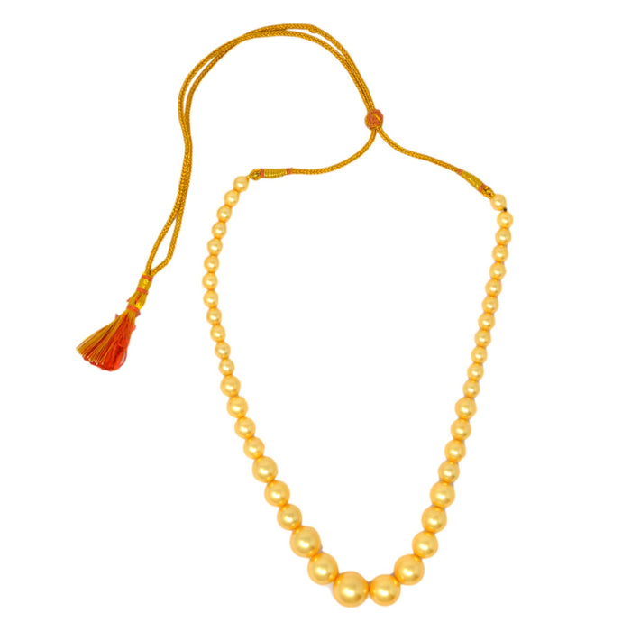 Golden Finish Moti Mala Necklace Top View