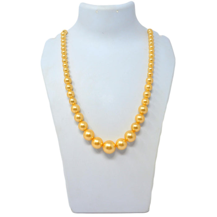 Golden Finish Moti Mala Necklace On Mannequin