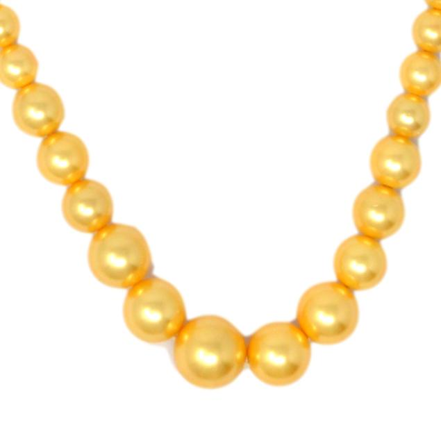 Golden Finish Moti Mala Necklace Close Up
