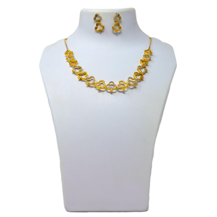 American diamond & gold Finish Necklace Set On Mannequin