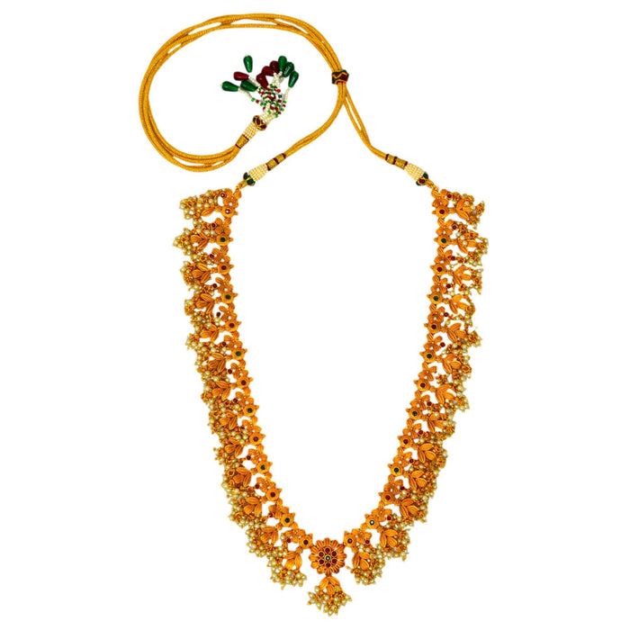 Temple Moti Guccha Necklace Set Top View
