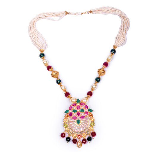 Red, Green, White Stone & Moti Necklace Front View