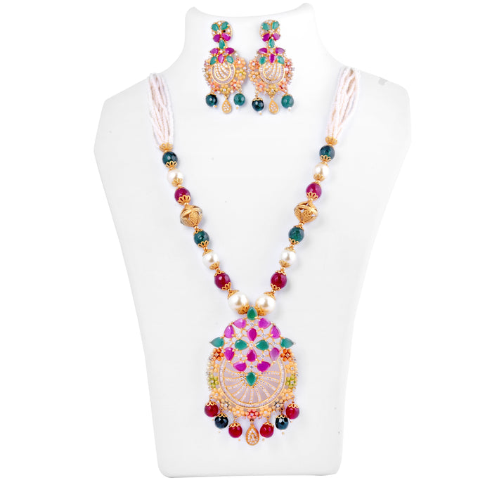 Red, Green, White Stone & Moti Necklace Set On Mannequin
