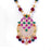 Red, Green, White Stone & Moti Pendant Closeup