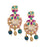 Red, Green, White Stone & Moti Earring  Closeup