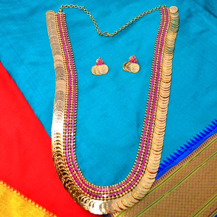Red Stone & Laxmi Coin Necklace Set Color