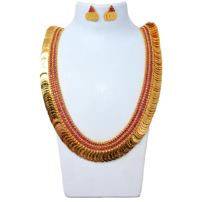 Red Stone & Laxmi Coin Necklace Set On Mannequin